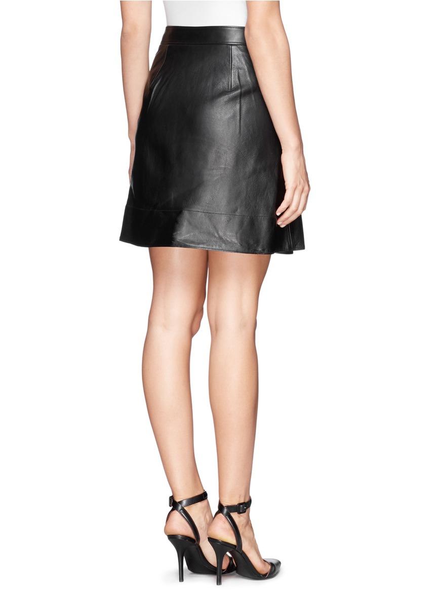 3 1 phillip lim fold leather skirt in black lyst