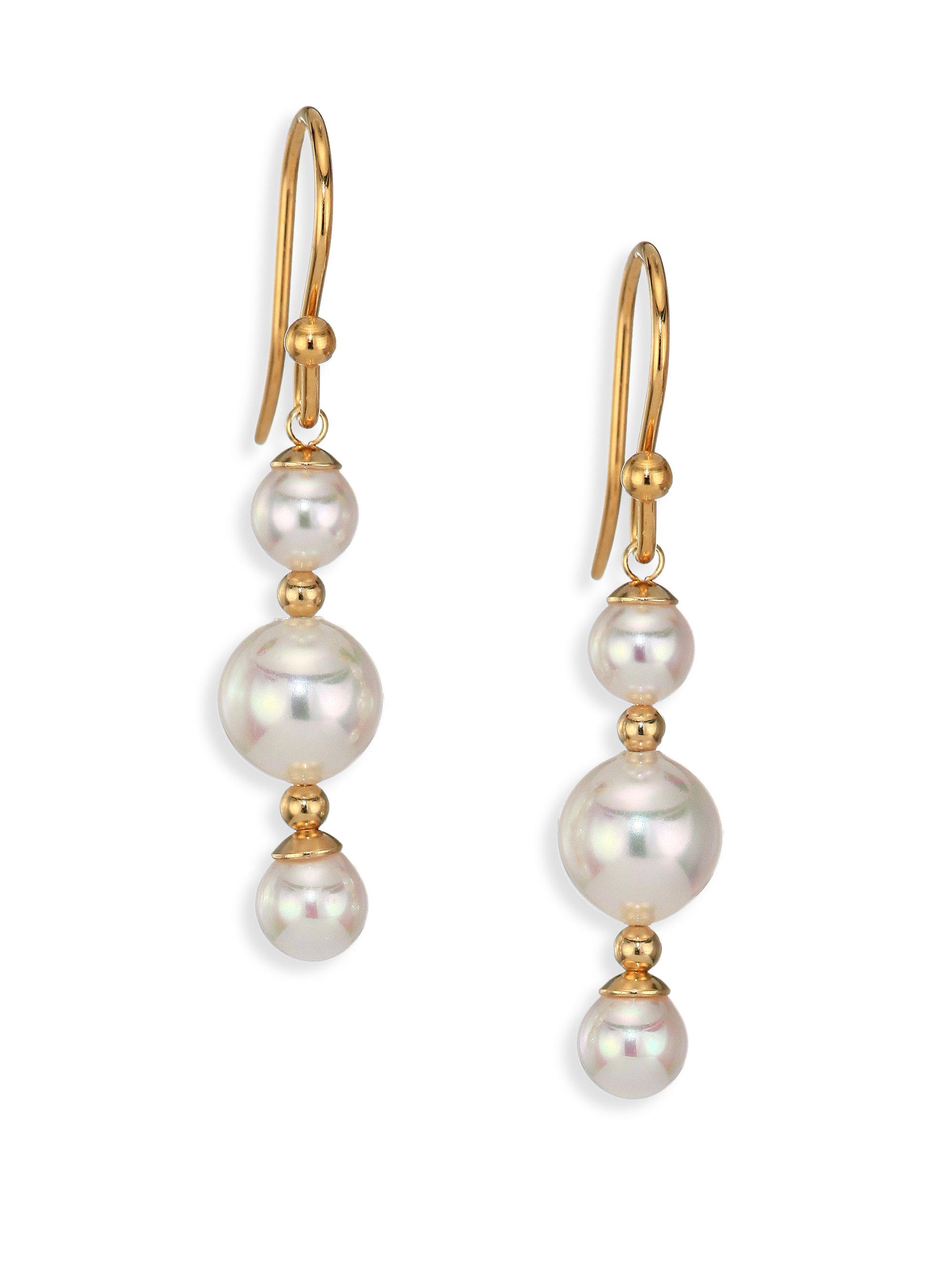 majorica 5mm 8mm white pearl drop earrings in