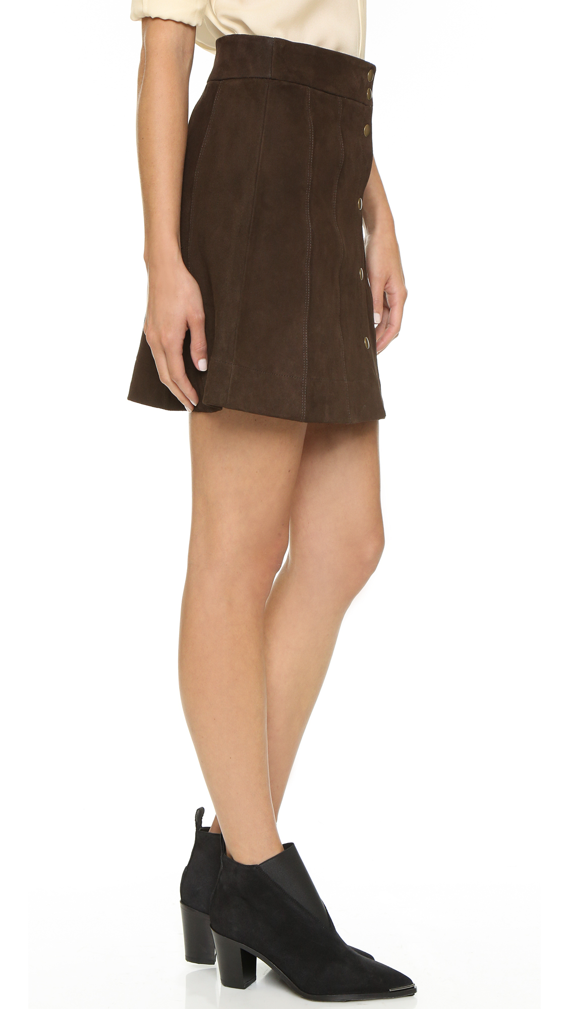 Frame Le Paneled Suede Miniskirt - Dark Brown in Brown | Lyst