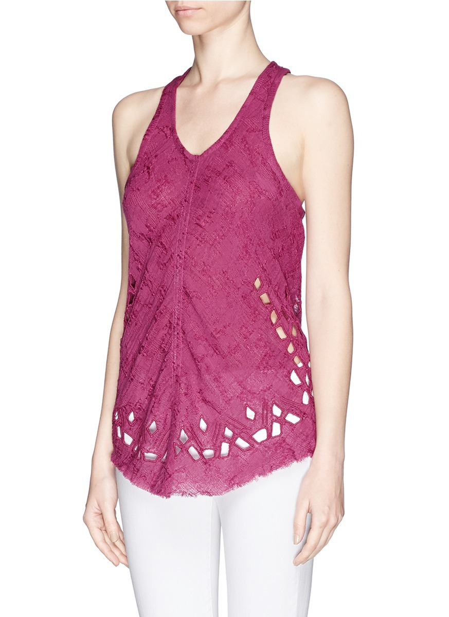 lyst iro 39 dolly 39 racer back gauze tank top in purple. Black Bedroom Furniture Sets. Home Design Ideas