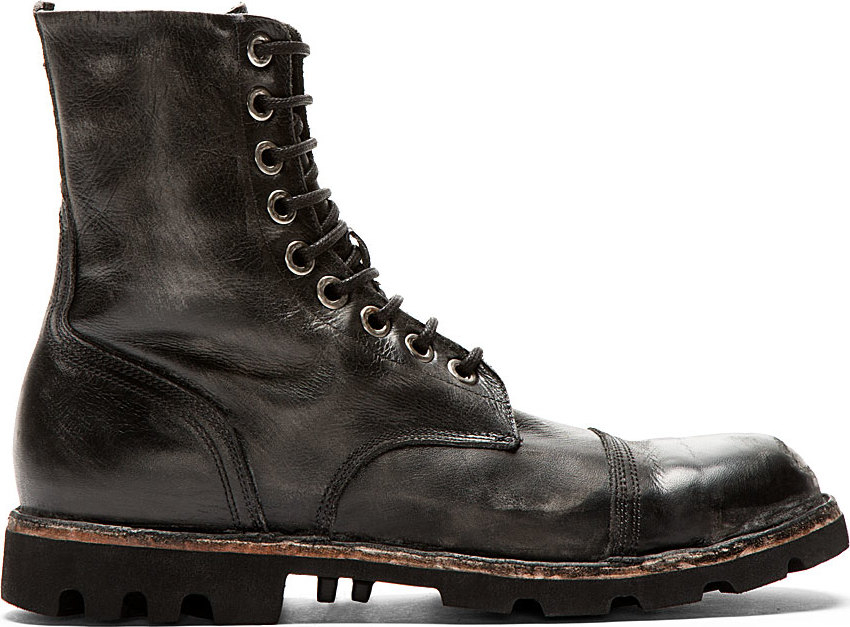 Lyst - Diesel Black Worn Leather Steel_capped Combat Boots ...