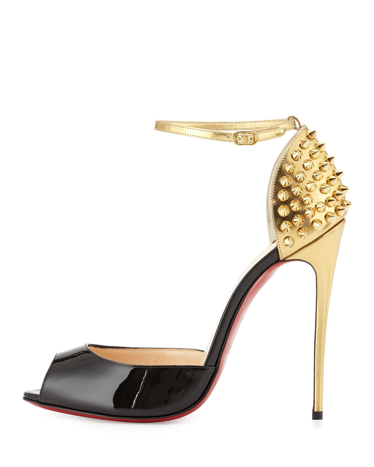 christian louboutin red and gold spiked heels