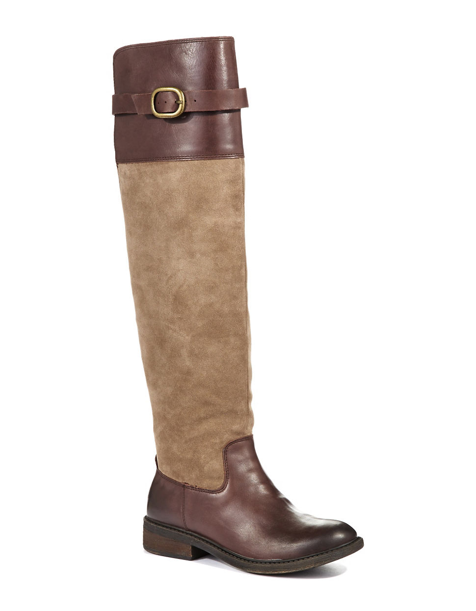 lucky brand nivo mixed media boots in brown light brown