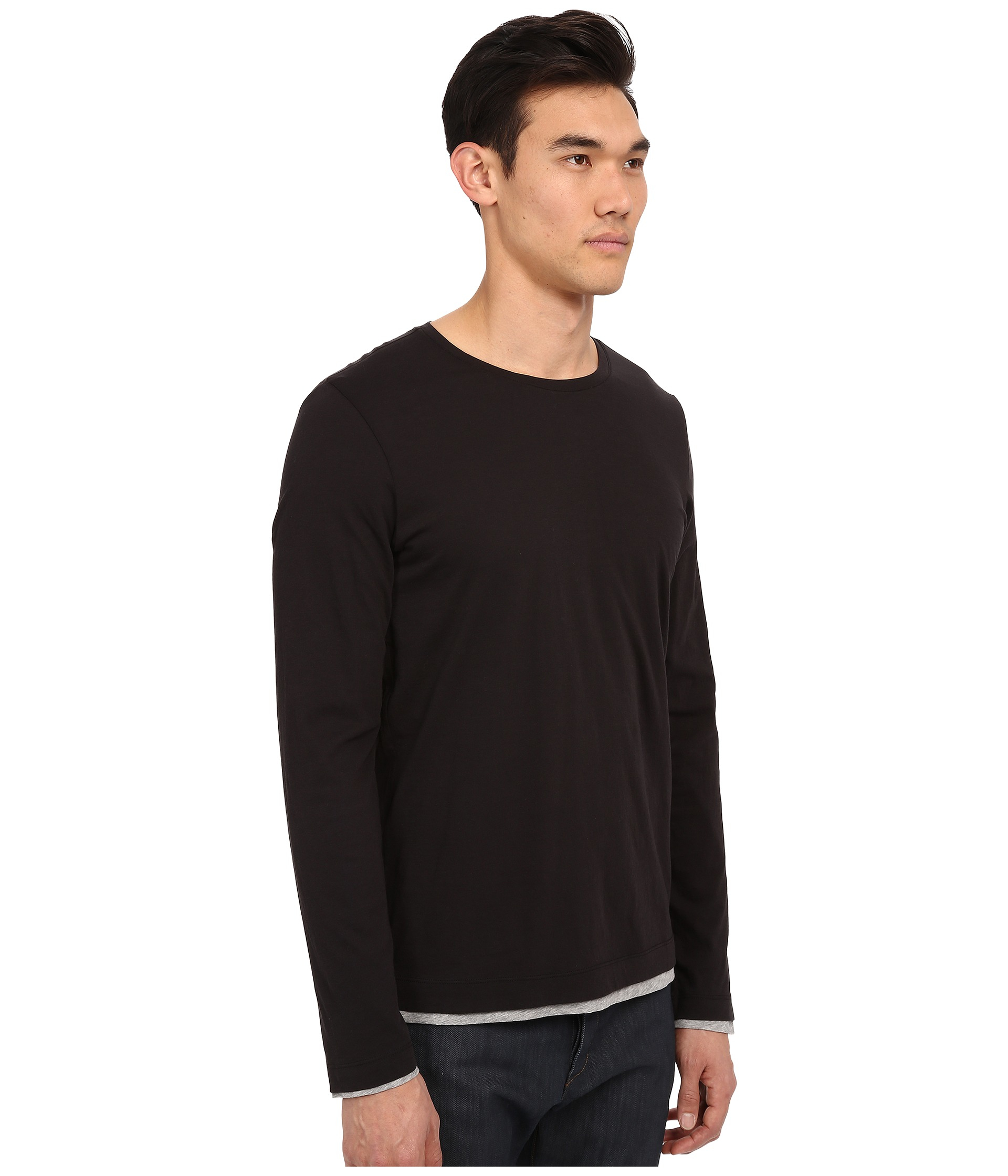 Vince Pima Long Sleeve Double Layer Crew Neck T-shirt in Black for ...