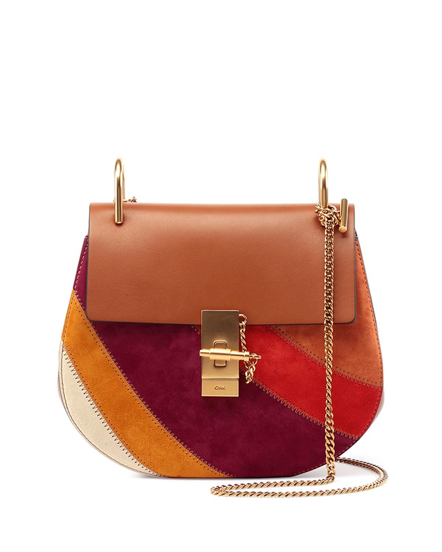 chloe drew leather and suede shoulder bag