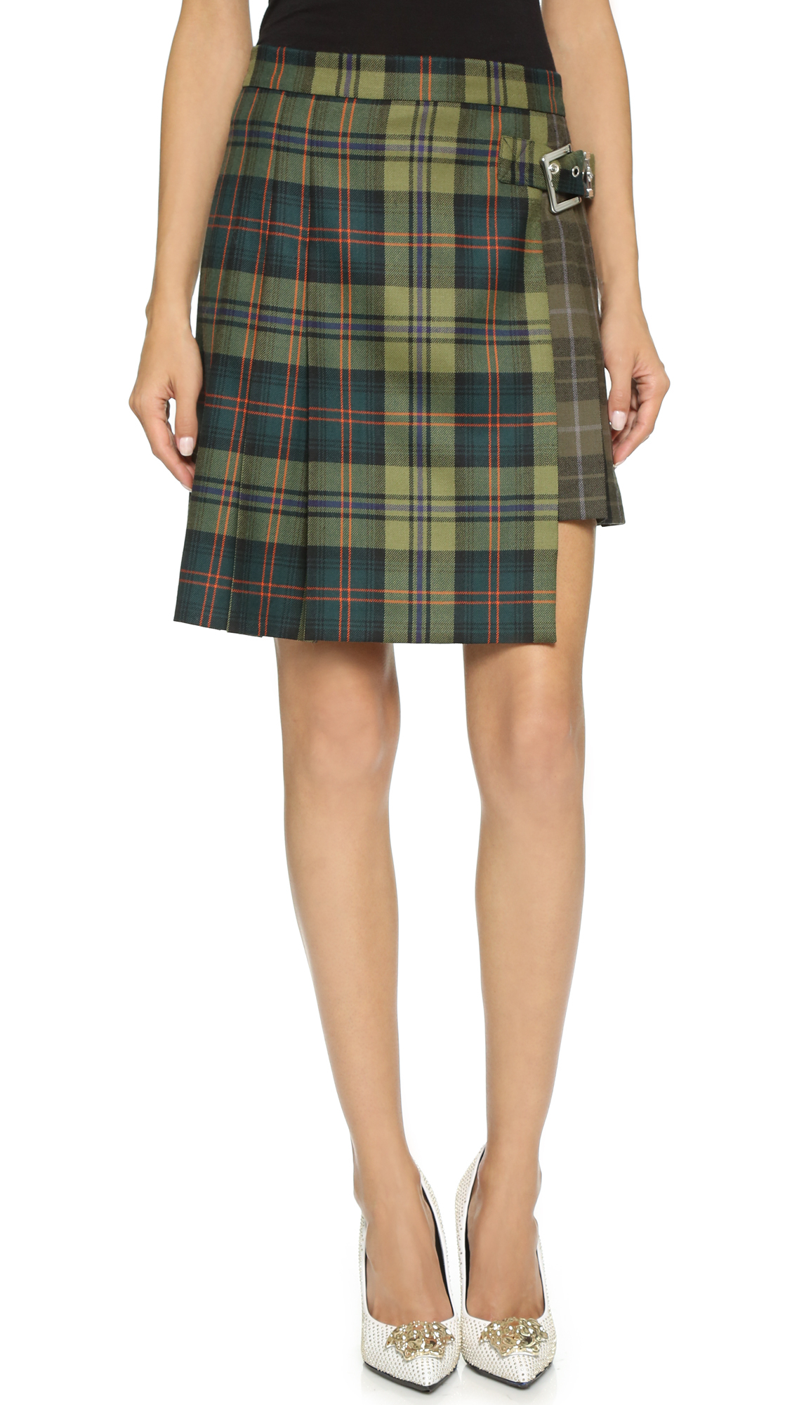 versus plaid kilt skirt khaki in khaki lyst