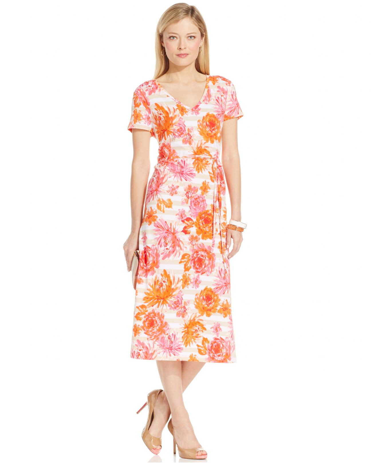 Jones new york signature printed midi dress lyst for New york and company dress shirts