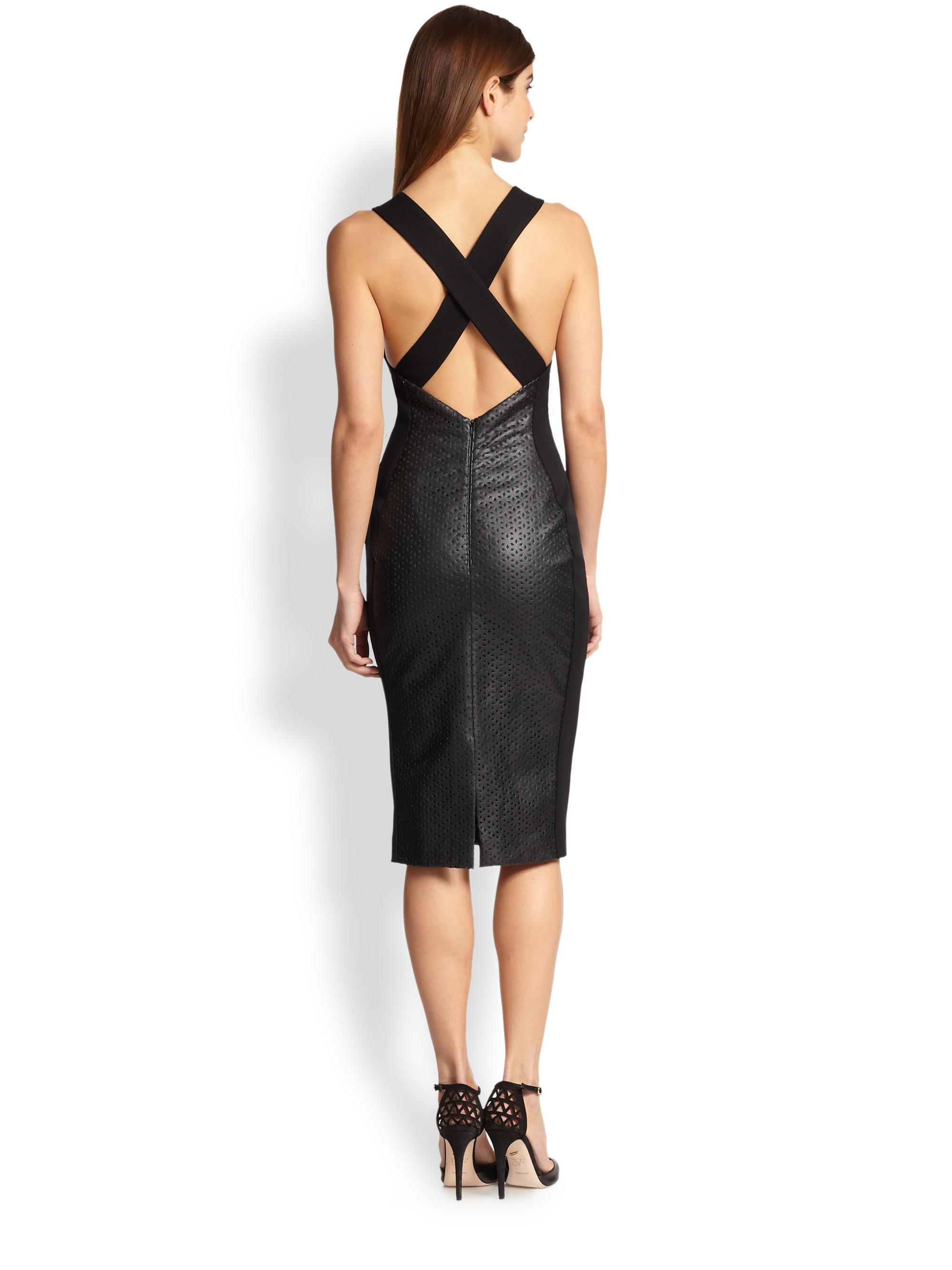 Lyst Black Halo Blayze Cutout Faux Leather Dress In Black