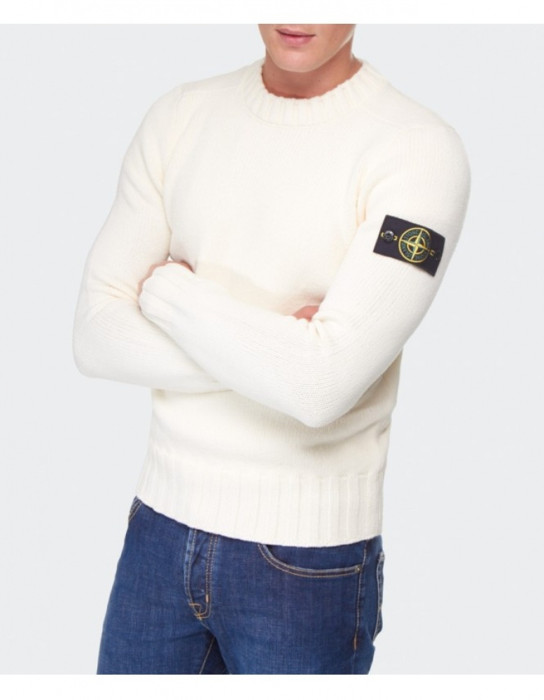 Stone Island Crew Neck Sweater In White For Men