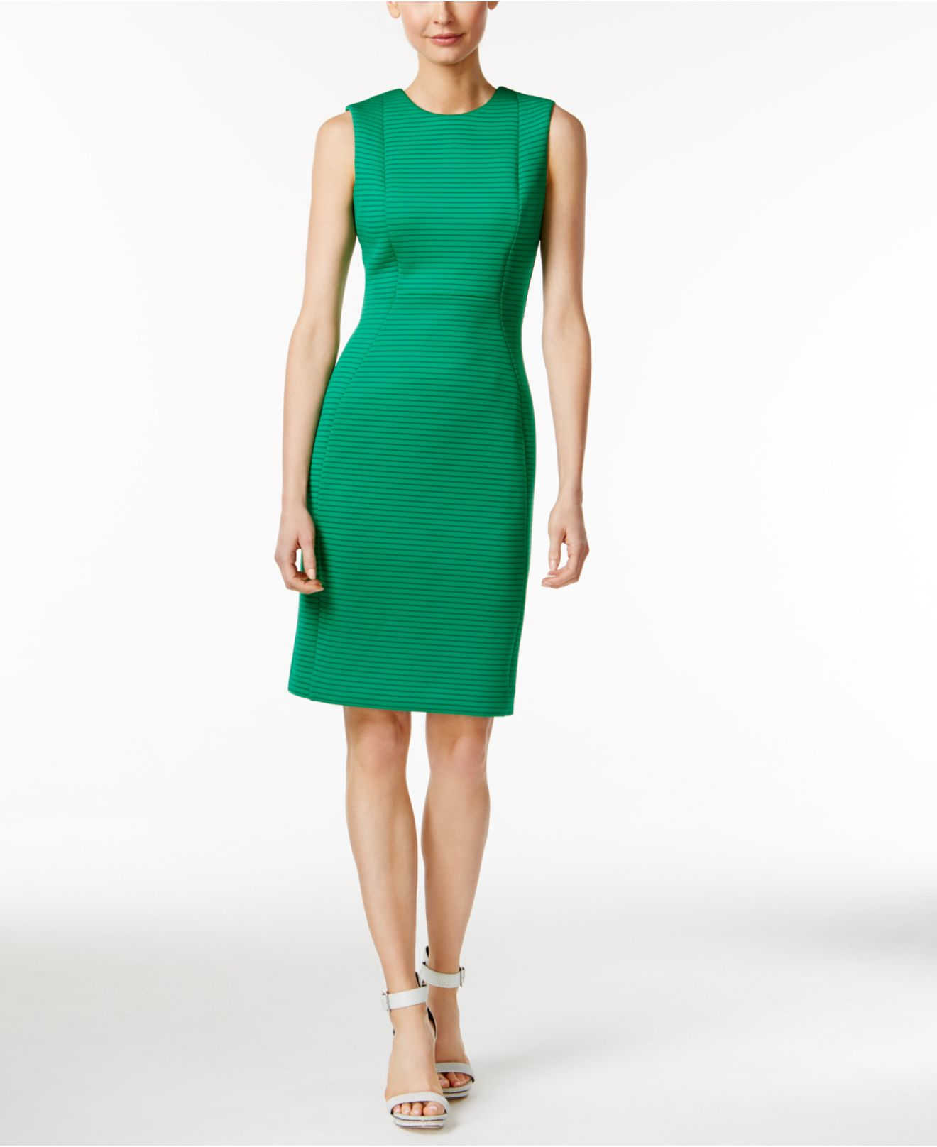 d8adb83c Calvin Klein Sleeveless Striped Sheath Dress in Green - Lyst
