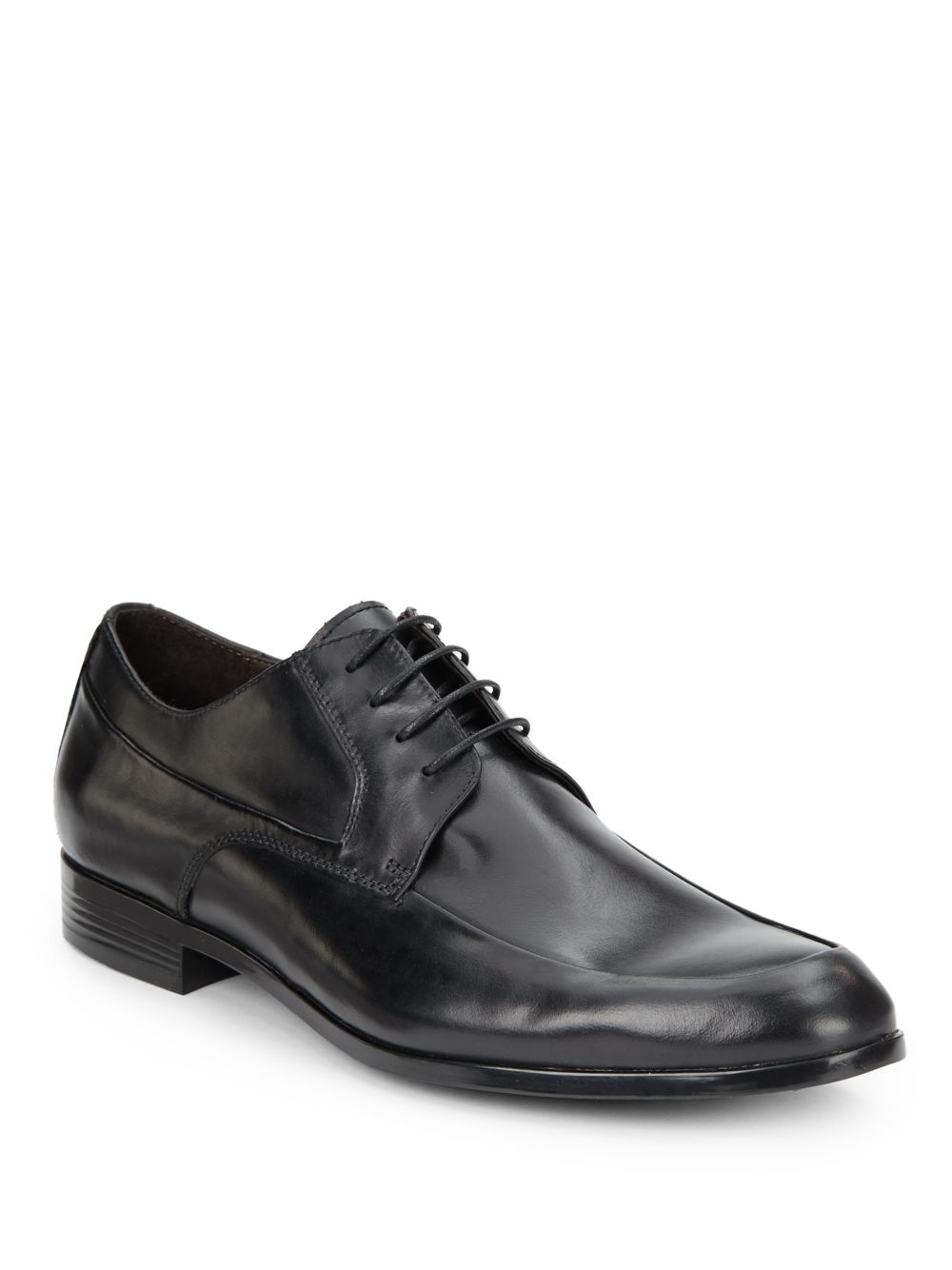 saks fifth avenue black label leather lace up shoes in