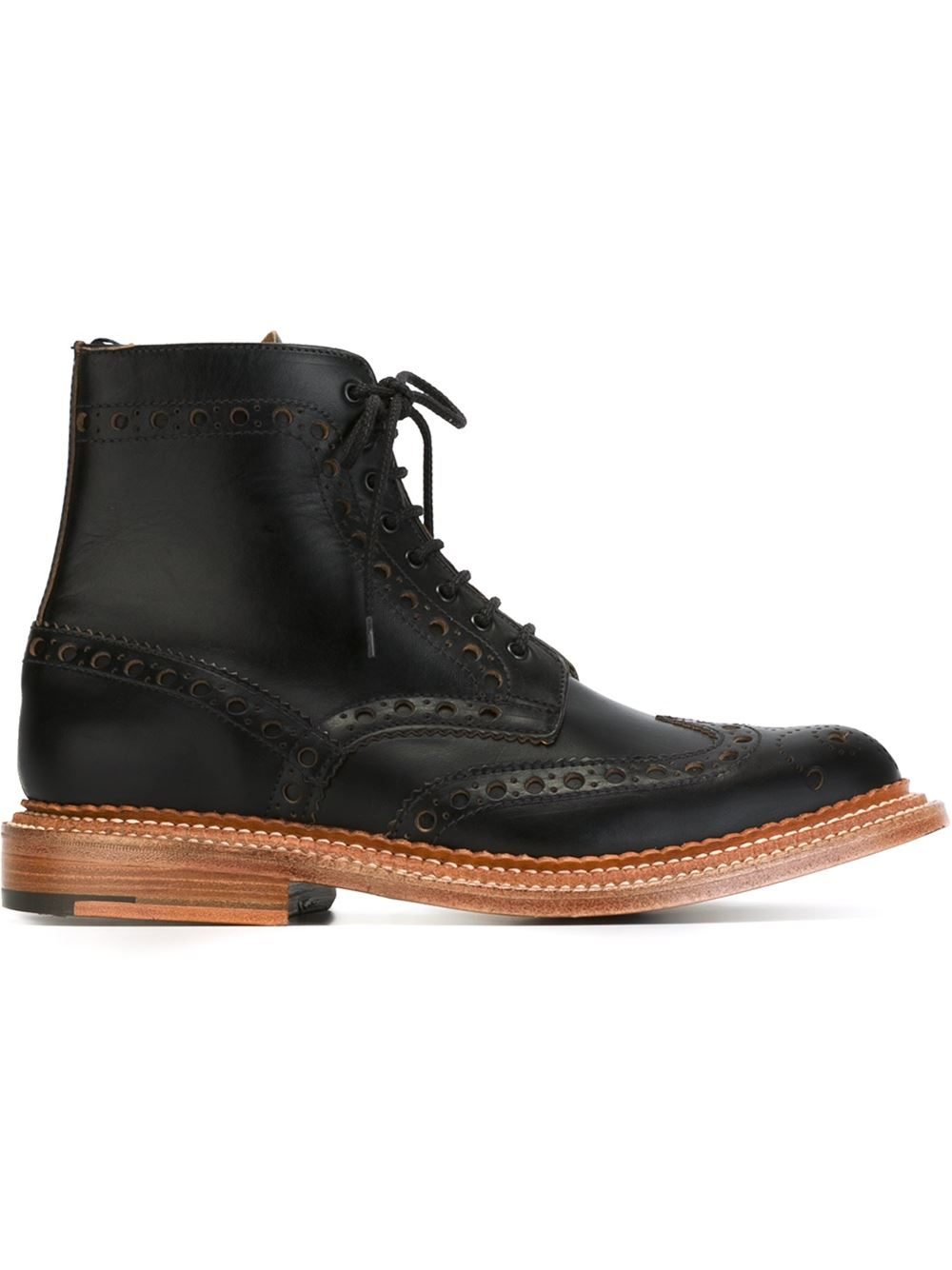 Lyst Foot The Coacher Brogue Detailing Boots In Black