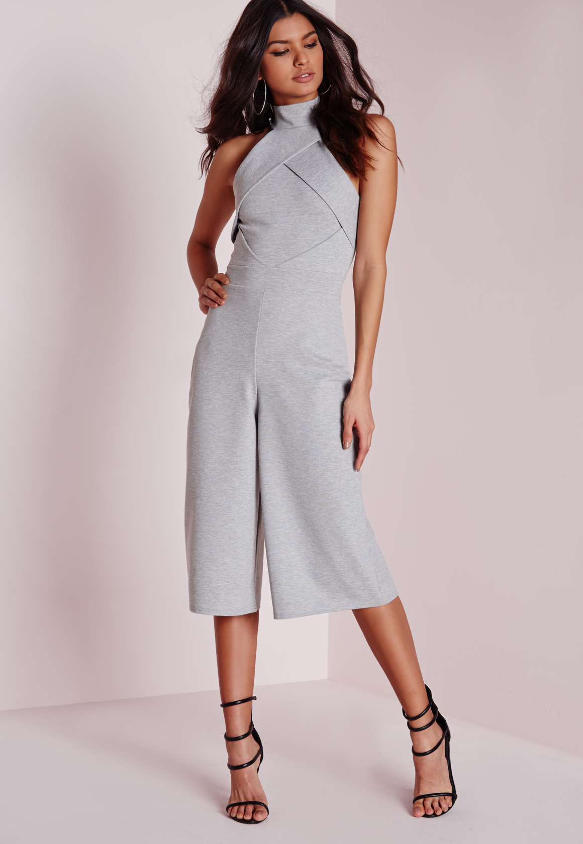 638ab3fe5711 Missguided Origami Culotte Jumpsuit Grey in Gray - Lyst