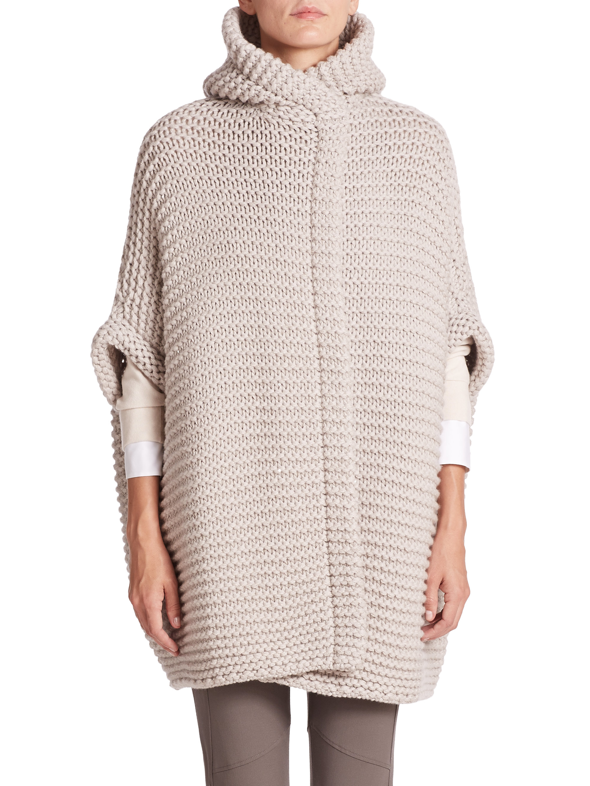 Brunello cucinelli Hooded Cashmere Cardigan in Natural | Lyst