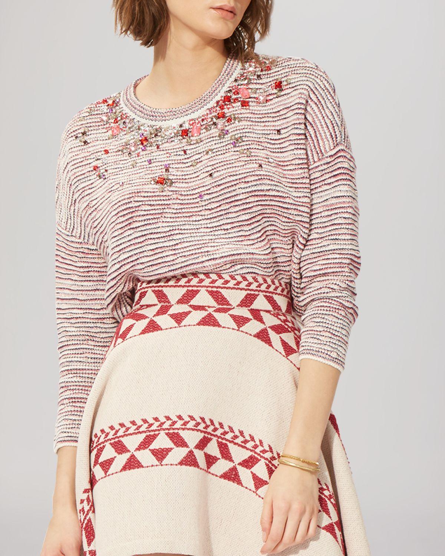 Maje Rhinestone Embellished Jacquard Sweater in Red | Lyst