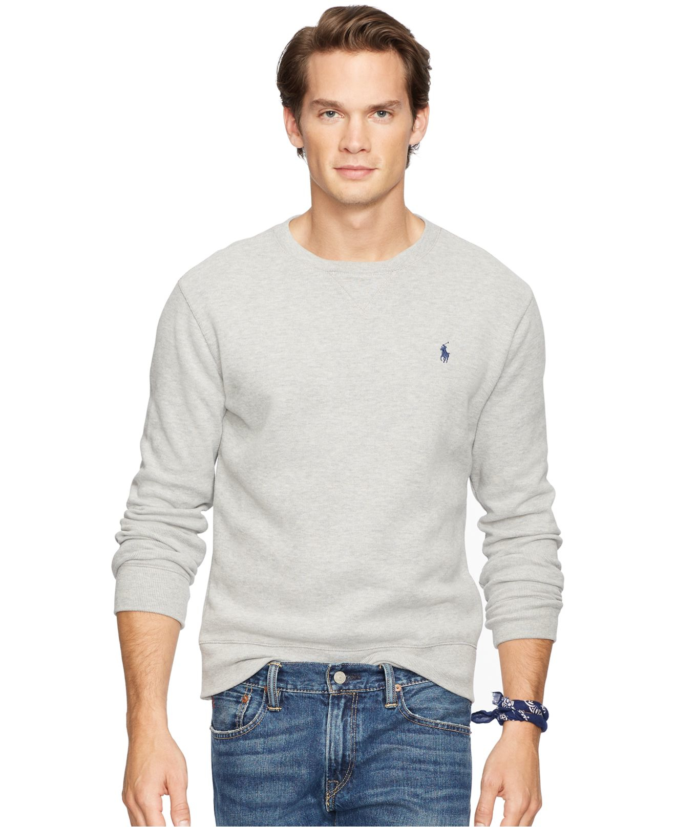 polo ralph lauren performance french rib pullover in gray for men. Black Bedroom Furniture Sets. Home Design Ideas