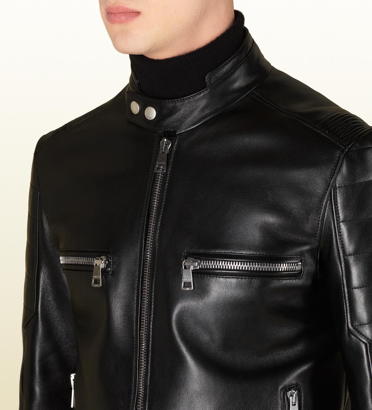 Gucci Black Shiny Leather Biker Jacket in Black for Men