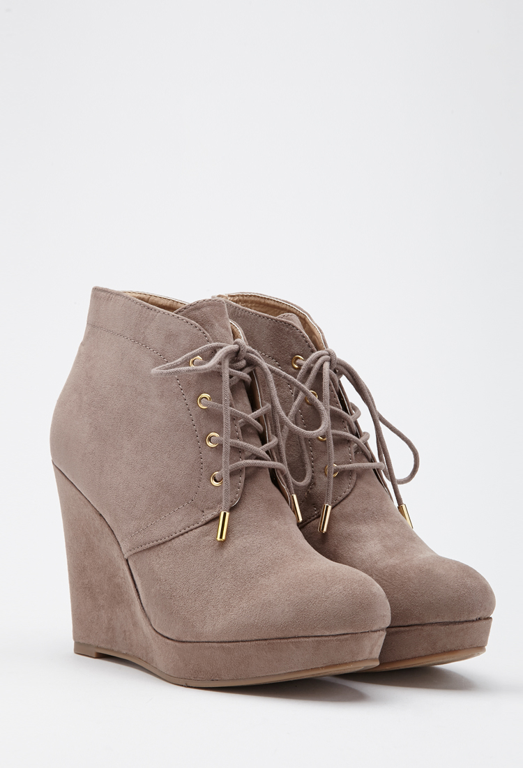 e9cdadb9336 Lyst - Forever 21 Lace-up Wedge Booties in Brown