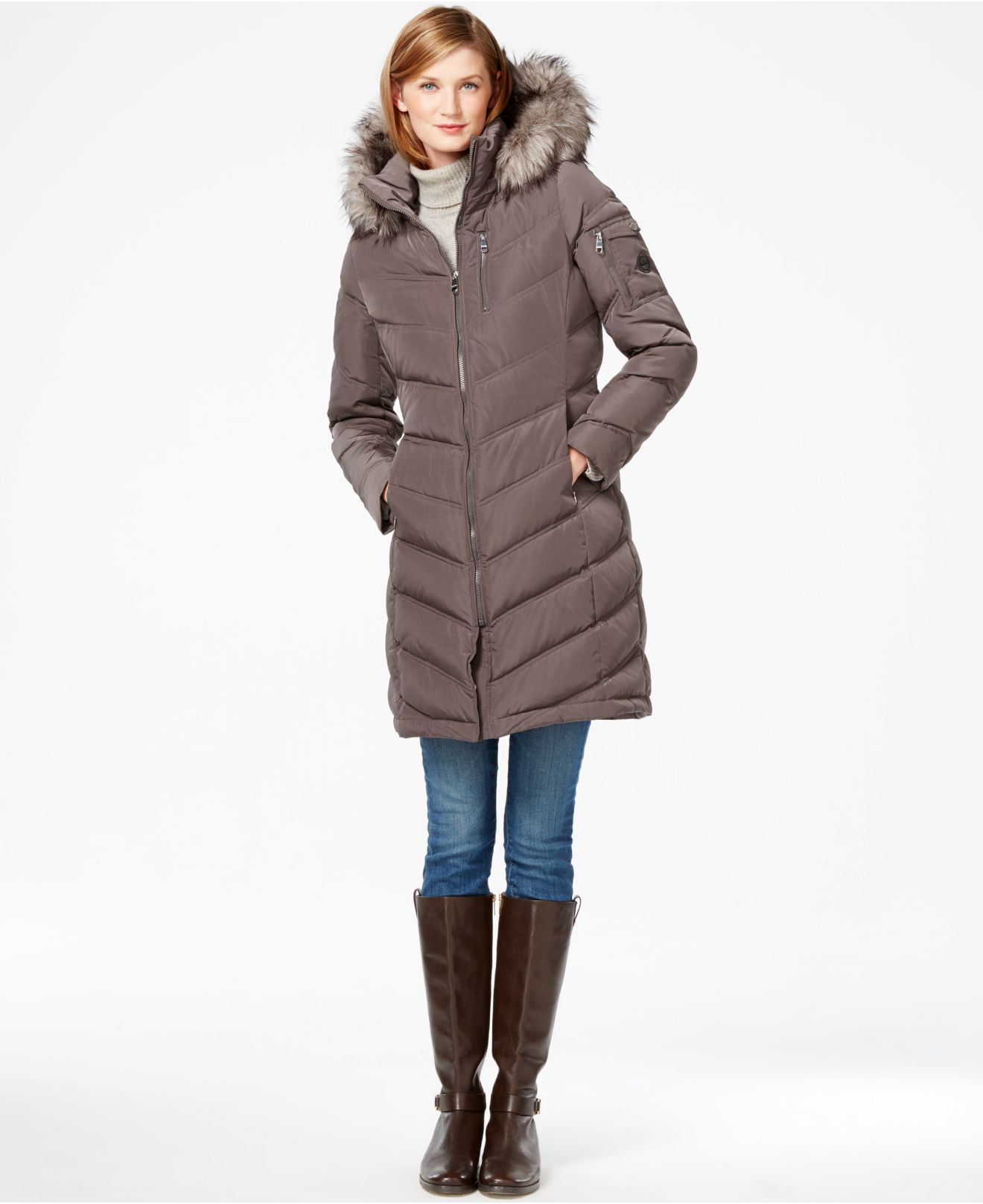 104ce30ad73c Calvin Klein Women S Faux Fur Trim Hooded Maxi Puffer Jacket ...