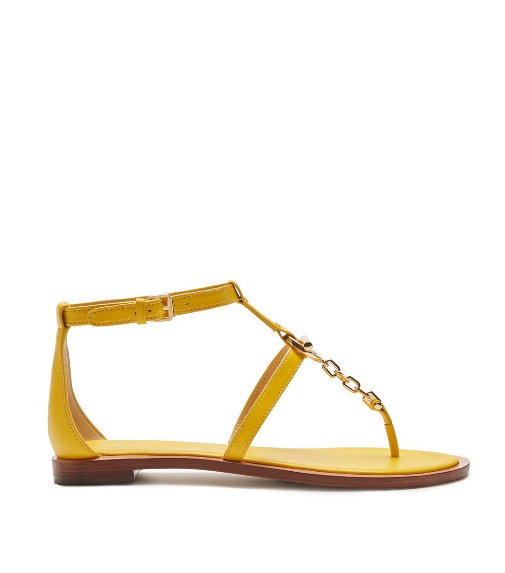 4a9d19e6b Tory Burch Toggle Flat Sandal in Yellow - Lyst