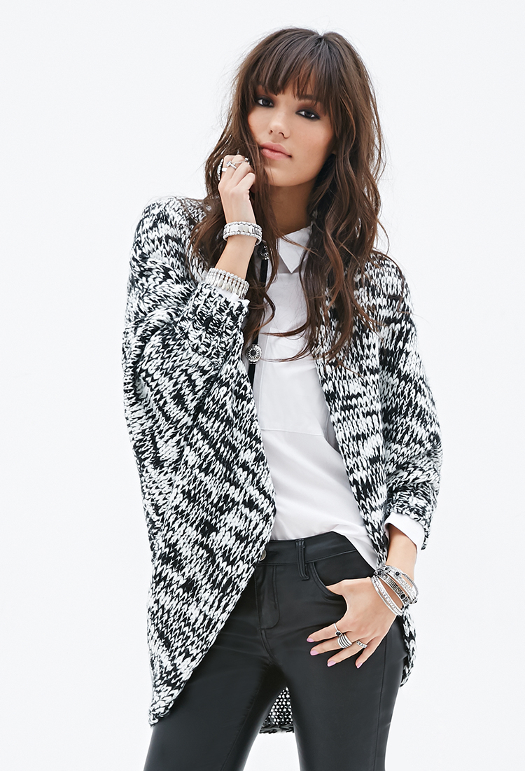 Forever 21 Chunky Knit Dolman Cardigan in Black | Lyst