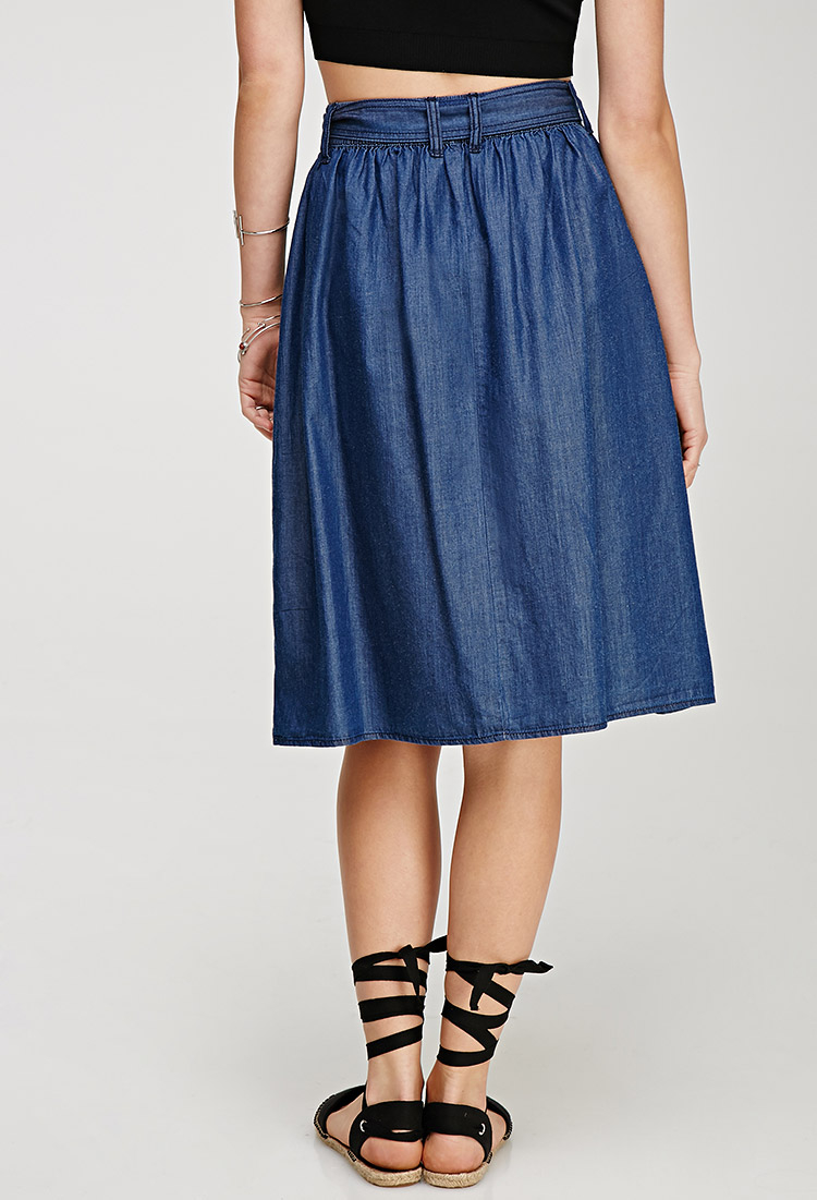 Lyst Forever 21 Contemporary Denim A Line Skirt In Blue