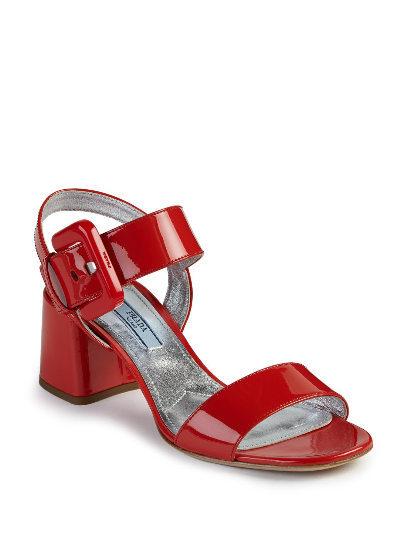 360053a5ce8 Lyst - Prada Patent Leather Mid-heel Sandals in Red