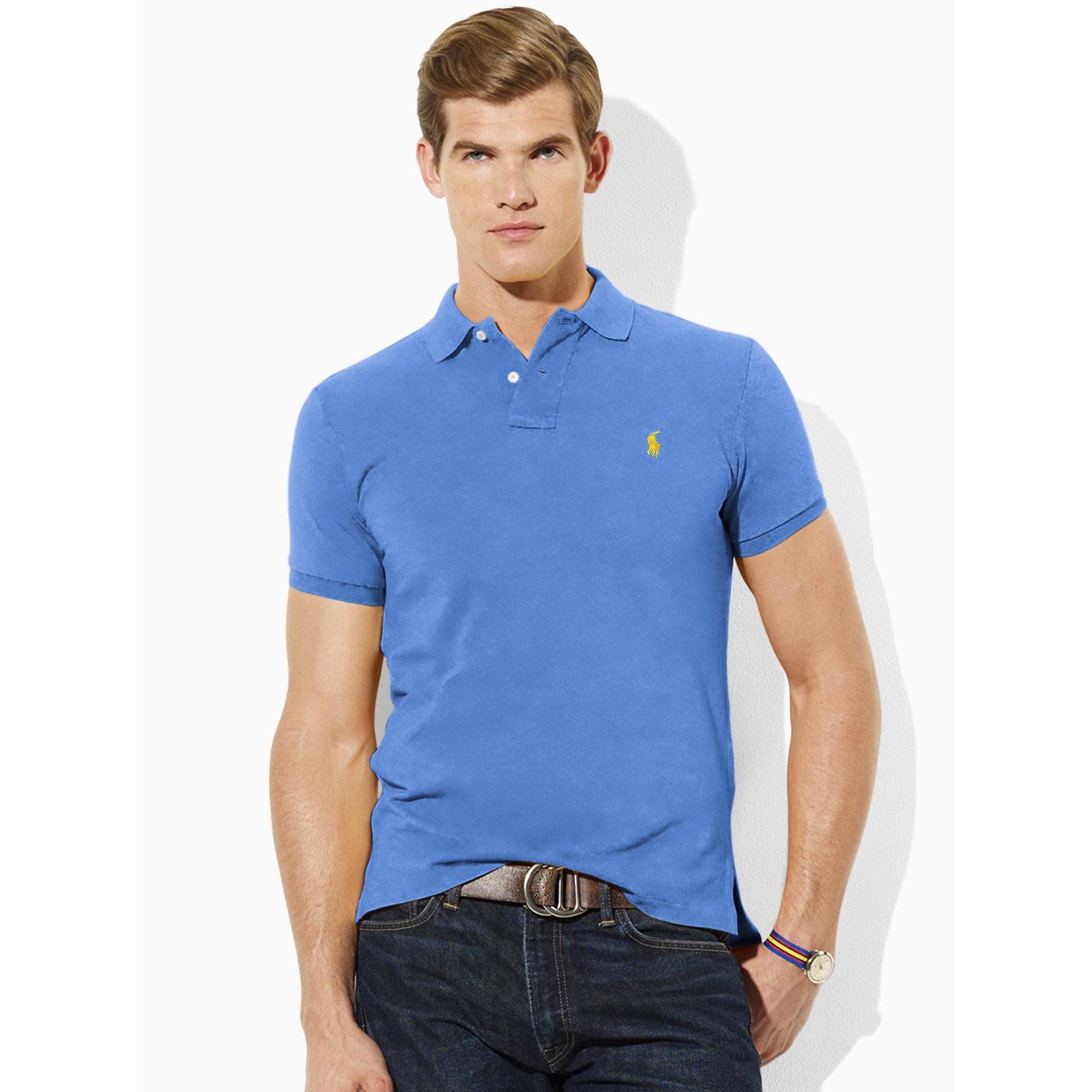 0deb41b8c8b Lyst - Polo Ralph Lauren Tall Custom-Fit Polo in Blue for Men