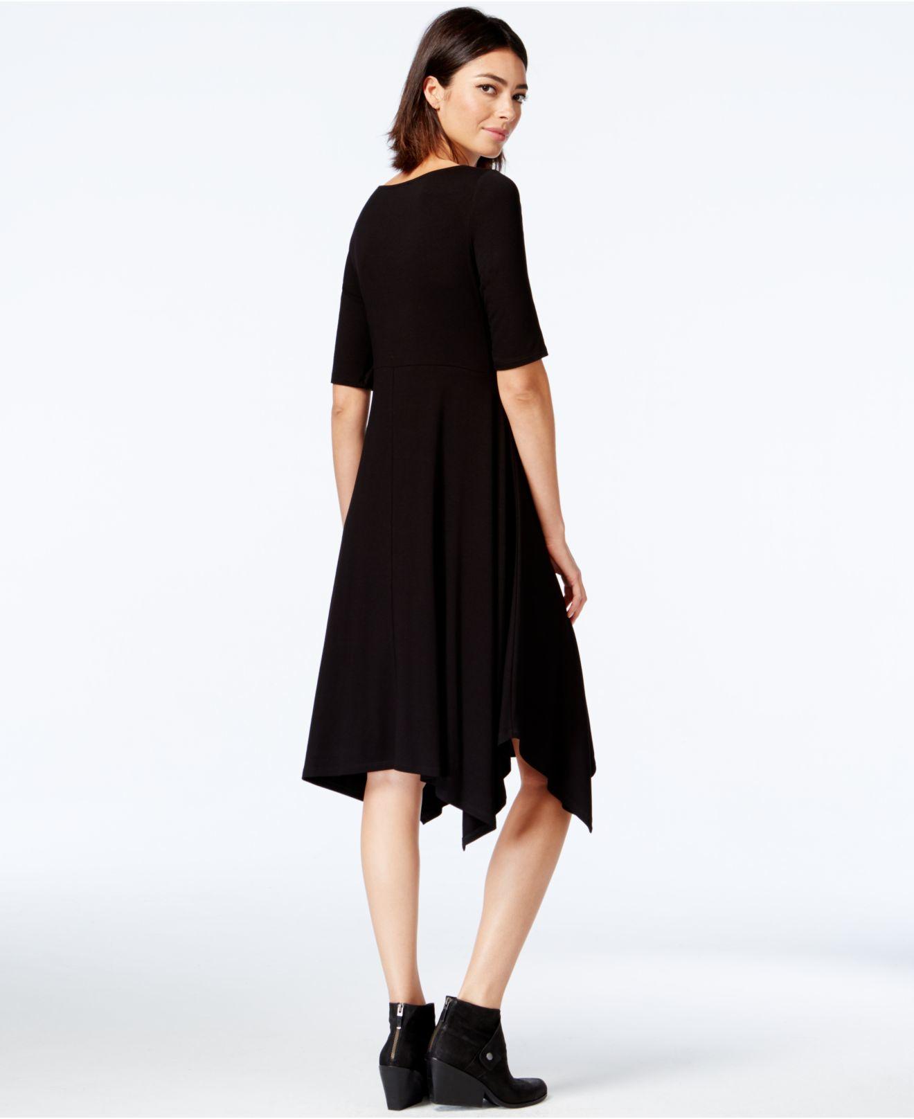85a7bb83e57 Lyst - Eileen Fisher Short-sleeve Handkerchief-hem Dress in Black