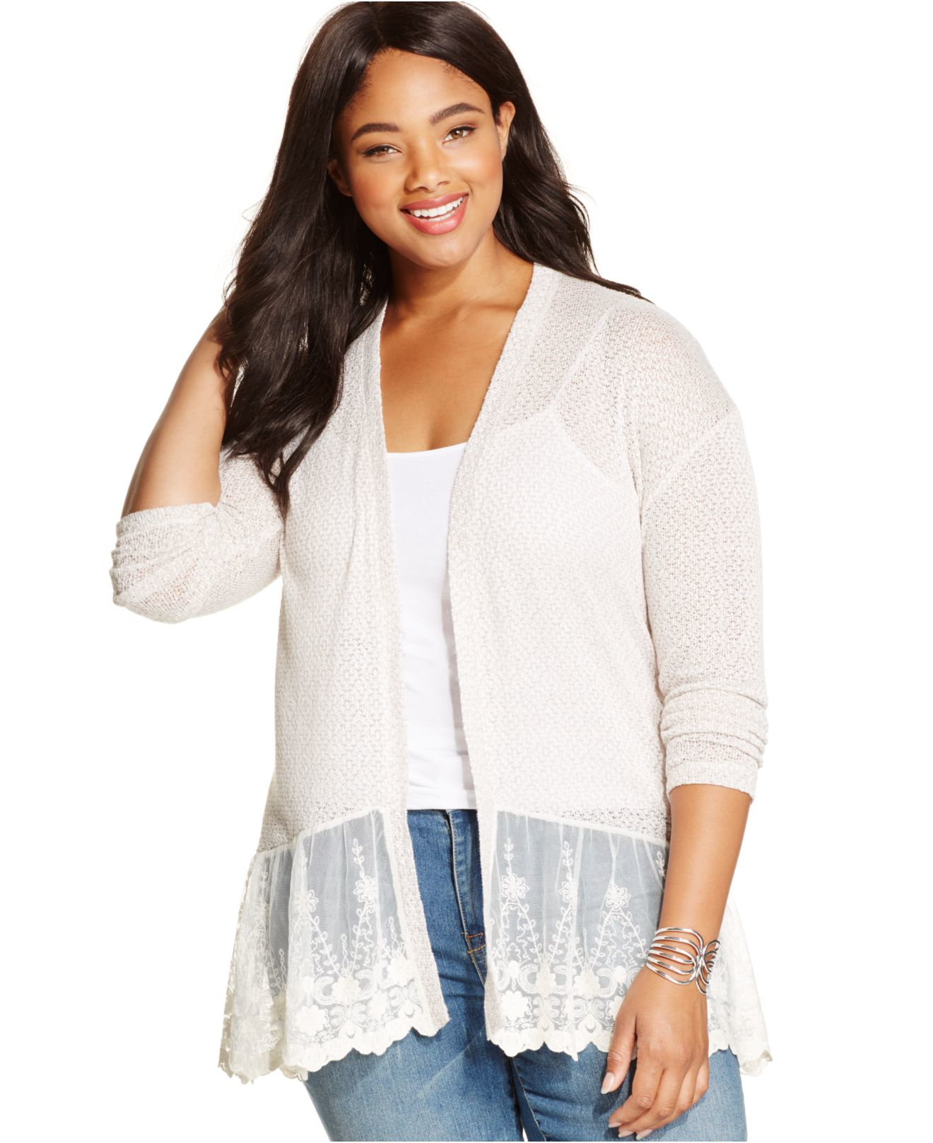 American rag Plus Size Lace-trim Peplum Cardigan in White | Lyst