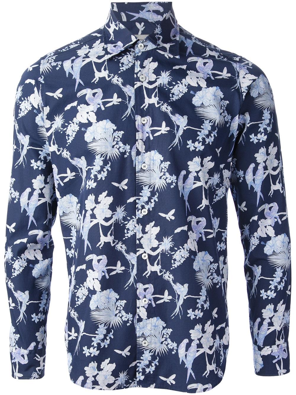Lyst etro bird print shirt in blue for men for Etro men s shirts
