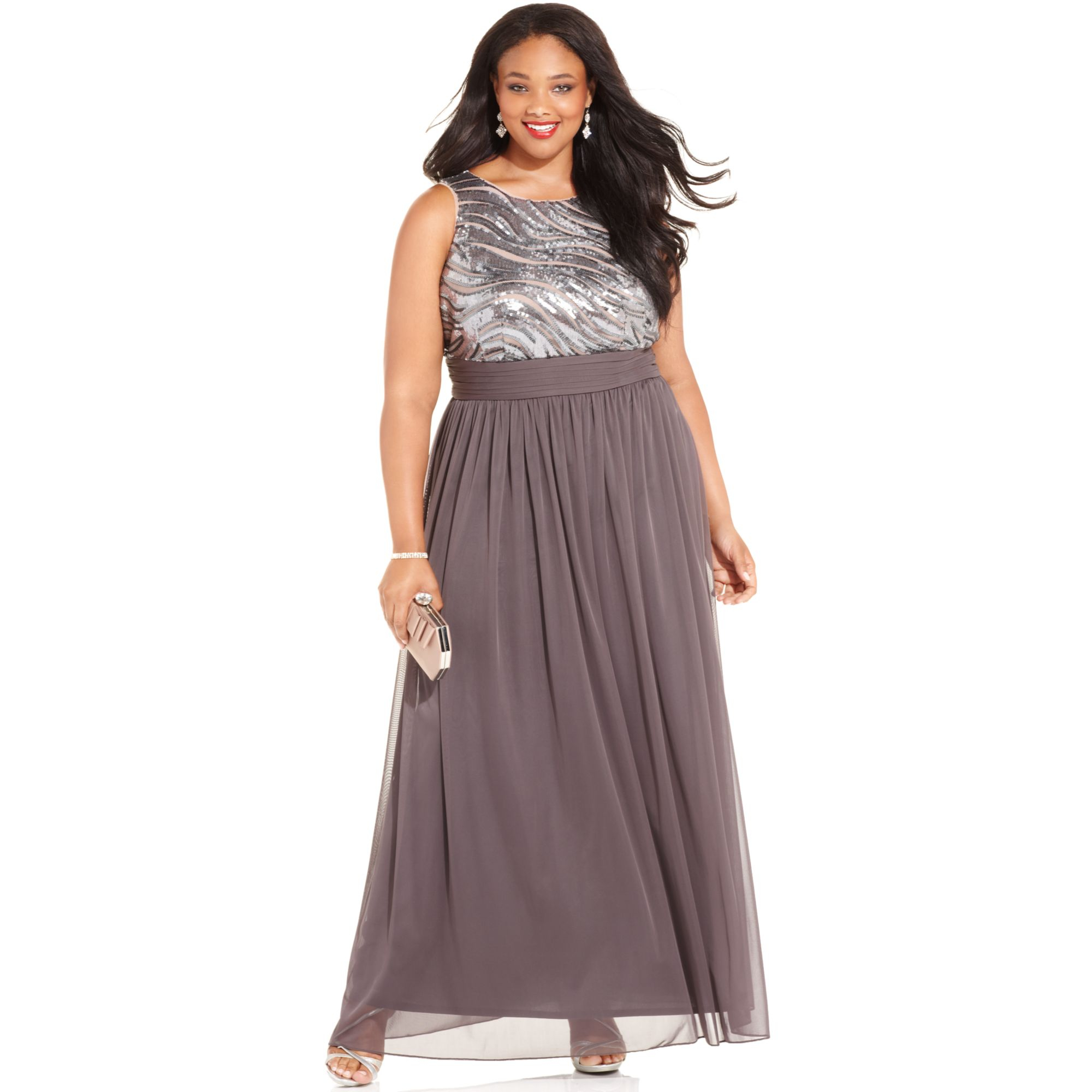 Lyst - Betsy & Adam Plus Size Sequin Chiffon Gown in Gray
