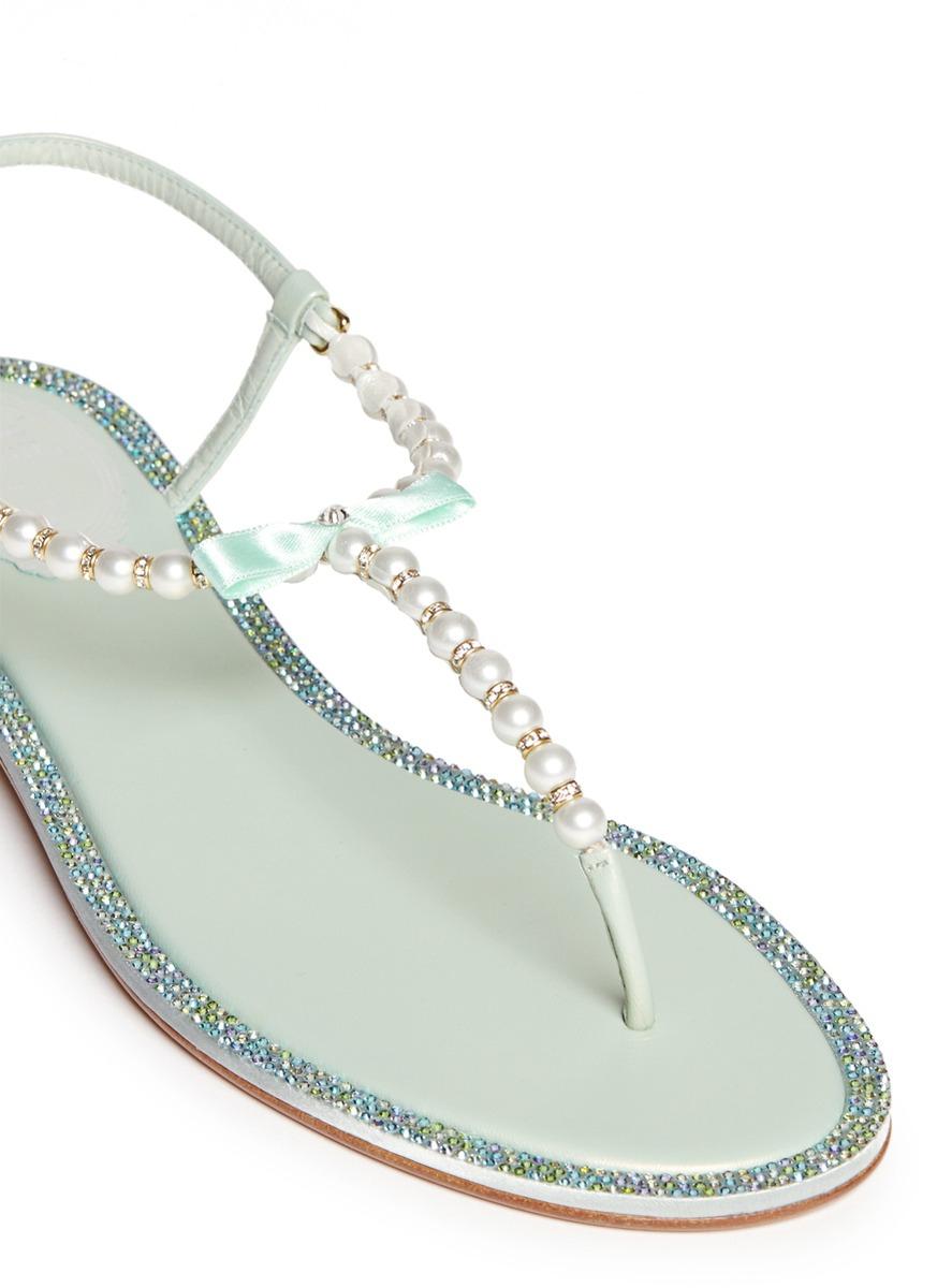 81913a926b9d Lyst - Rene Caovilla Strass Border Faux Pearl T-strap Sandals in Green