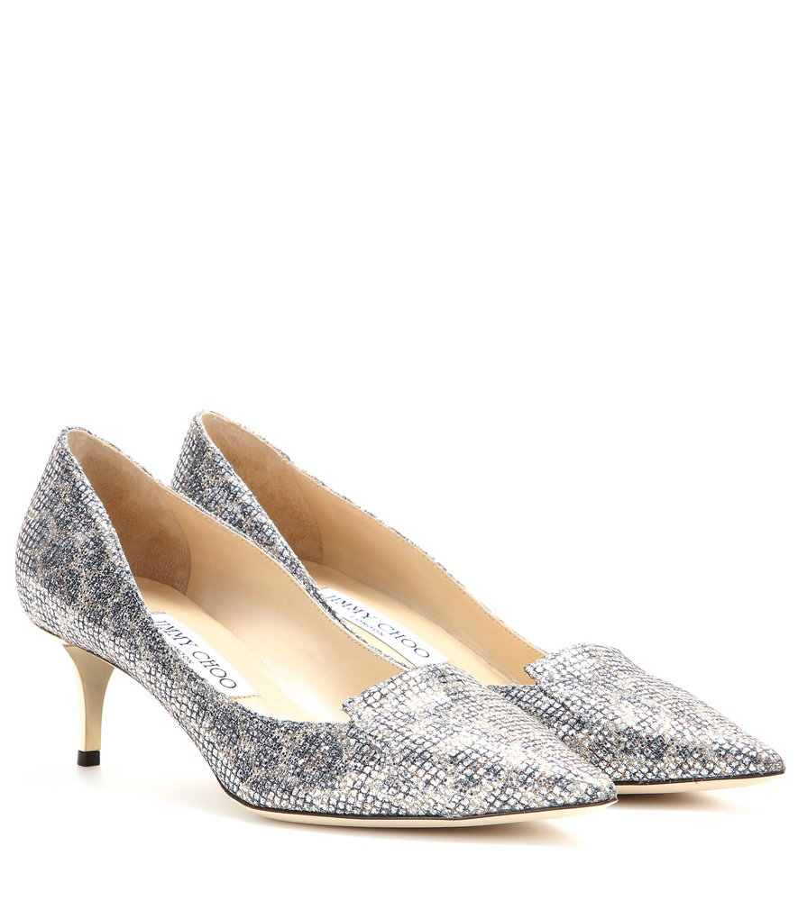 25dace80c37 Lyst - Jimmy Choo Allure Glitter Kitten-heel Pumps in Metallic