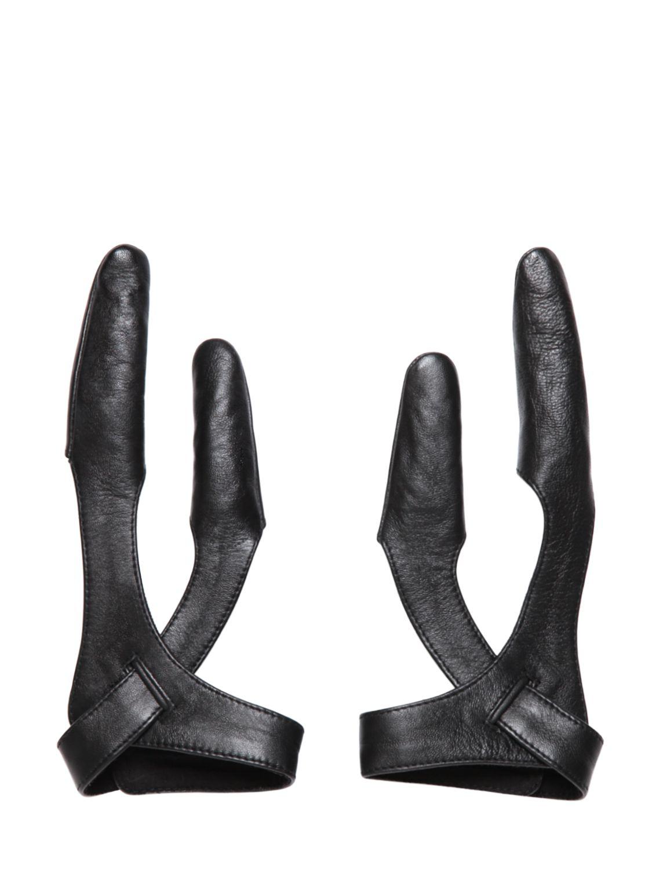 Mens leather gloves adelaide - Ktz Leather Two Finger Gloves In Black For Men Lyst