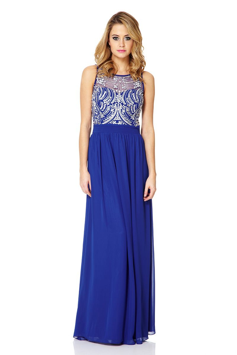 Lyst Quiz Chiffon Sequin Embellished Maxi Dress In Blue