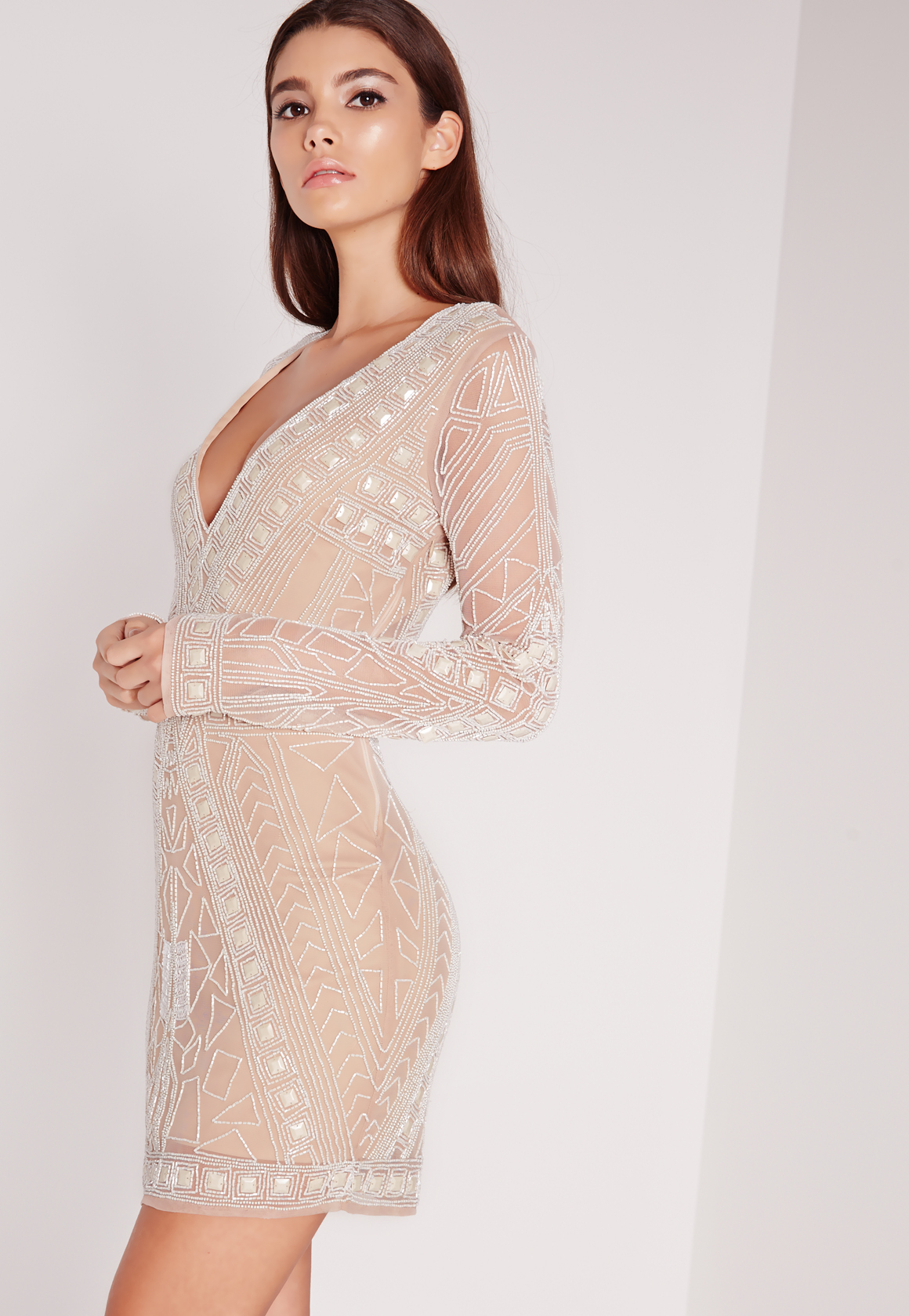 Missguided Premium Embellished Plunge Mini Dress White in ...