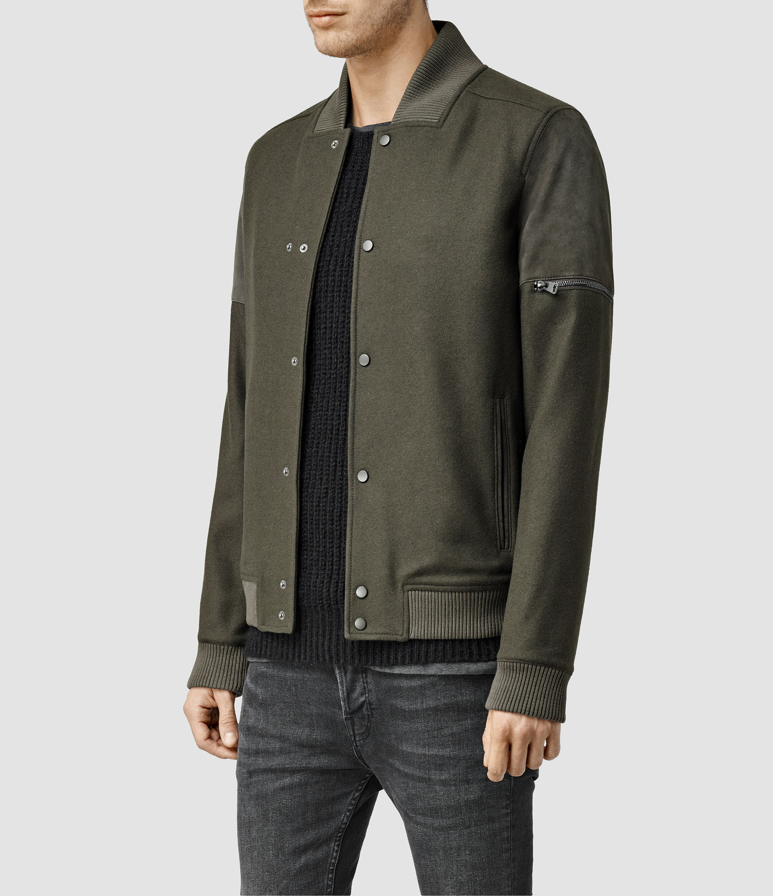 Lyst Allsaints Mission Bomber Jacket Usa Usa In Natural