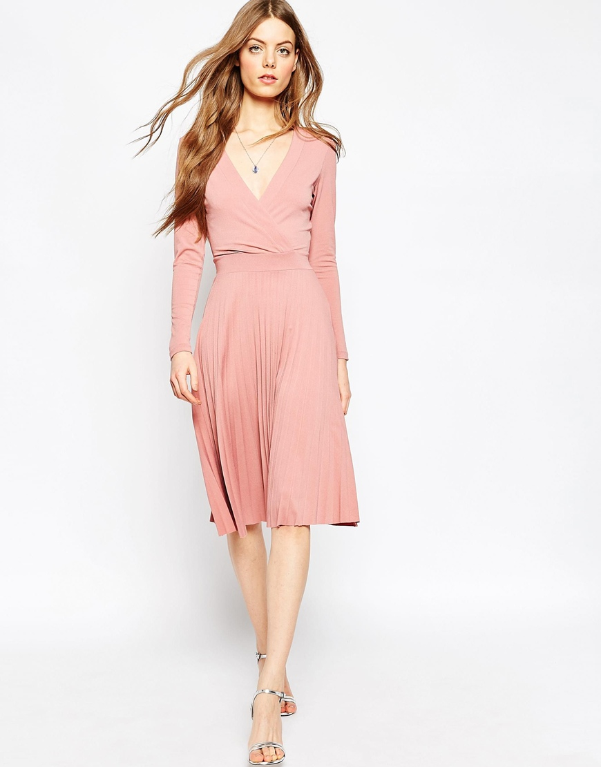 Asos Wrap Midi Dress With Pleats in Pink | Lyst