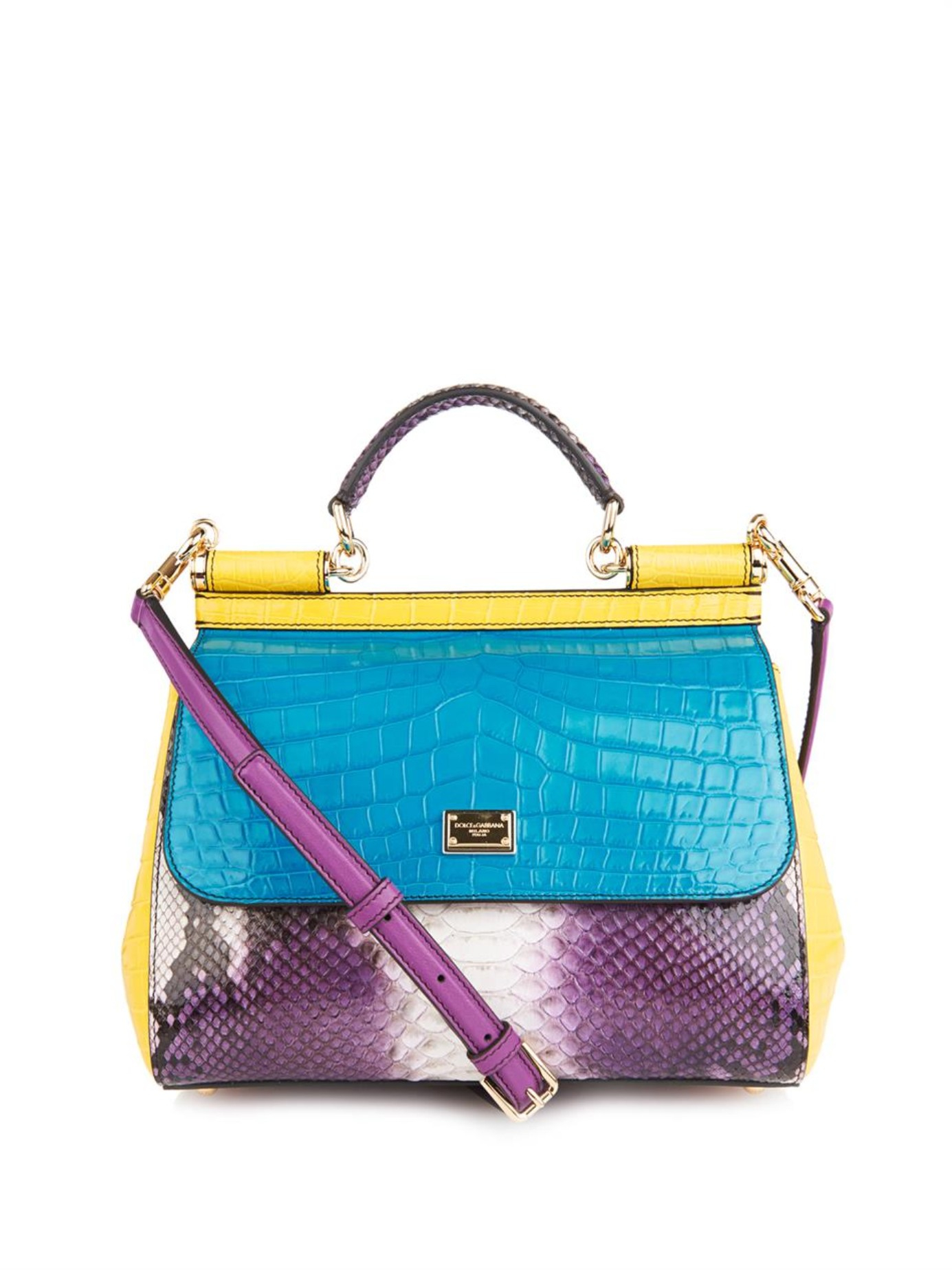 Lyst - Dolce   Gabbana Sicily Crocodile And Snake Cross-body Bag 6b77aa03d8