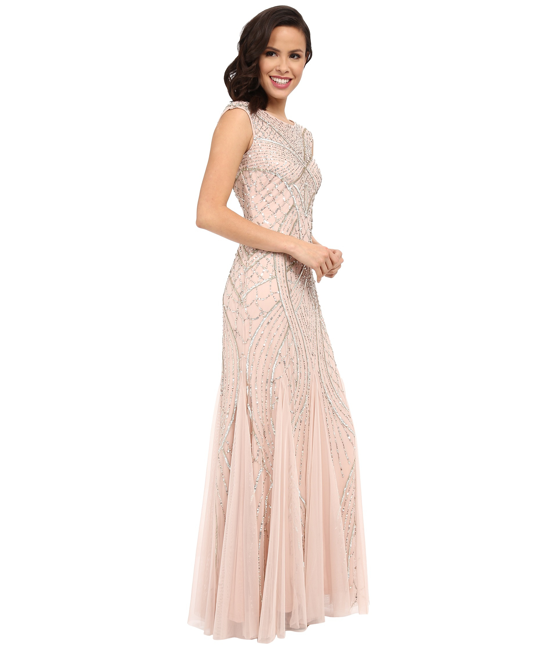 Lyst - Adrianna Papell Long Beaded Gown W/ Godets in Natural