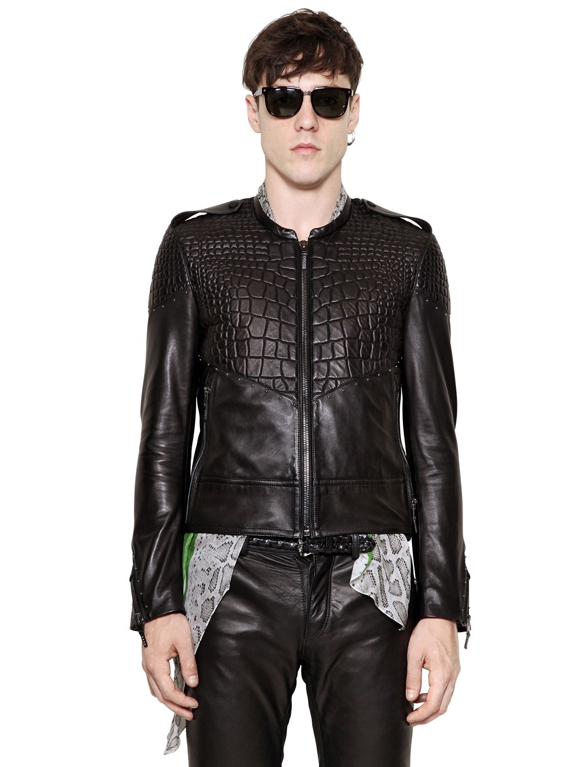 Lyst - Roberto Cavalli Croc Embossed Nappa Leather Jacket in Black ... 53a0e2bf3