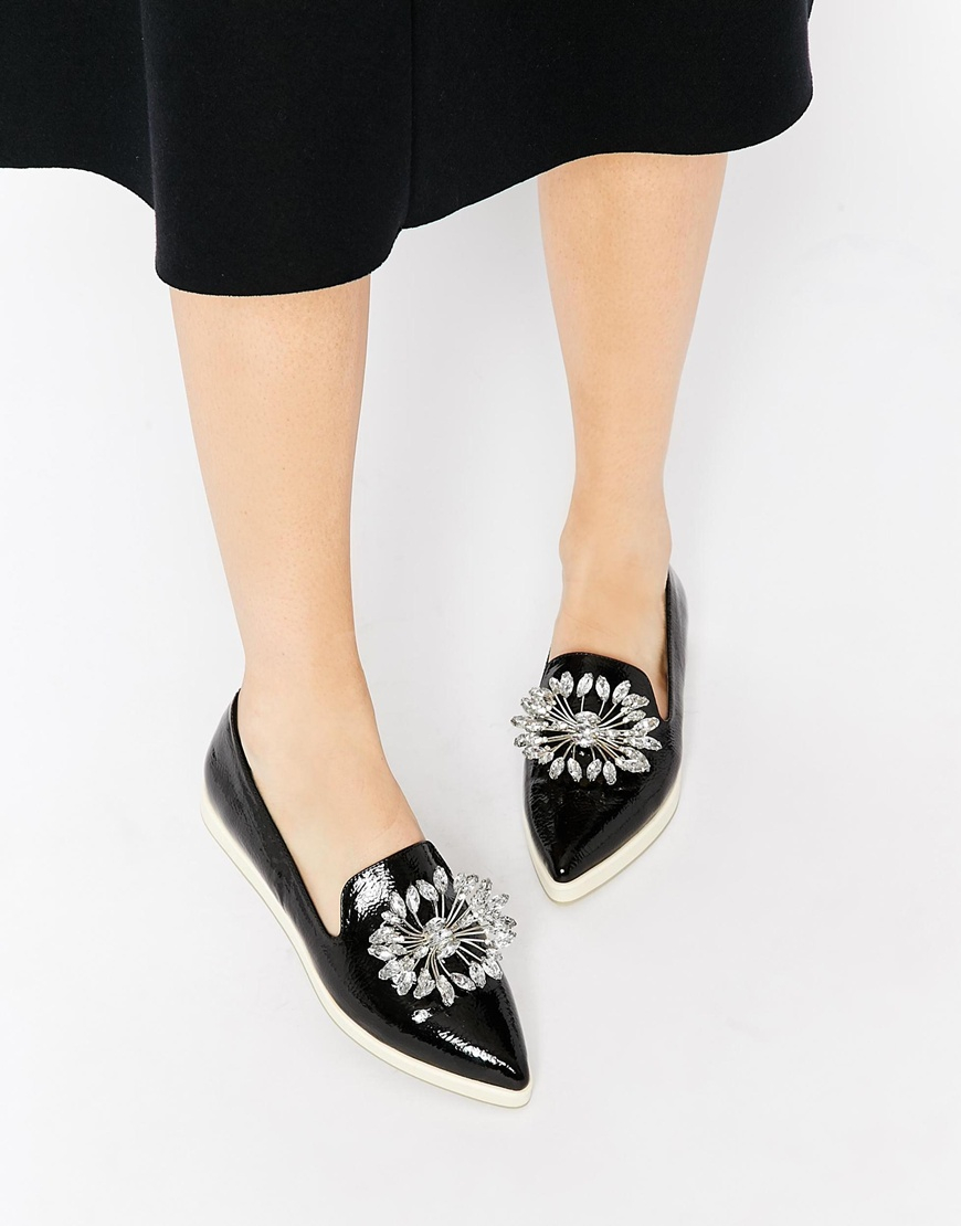 1da0b9b49c80d5 Lyst - ASOS Maxie Pointed Flat Shoes in Black