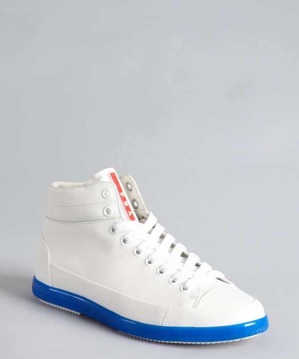 Lyst Prada Sport White And Blue Leather High Top