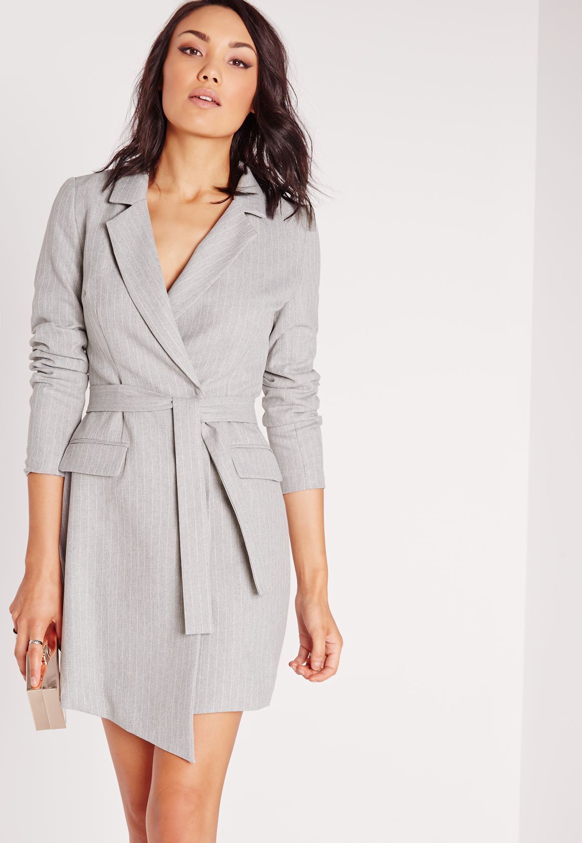 Missguided Pinstripe Wrap Blazer Dress Grey in Gray