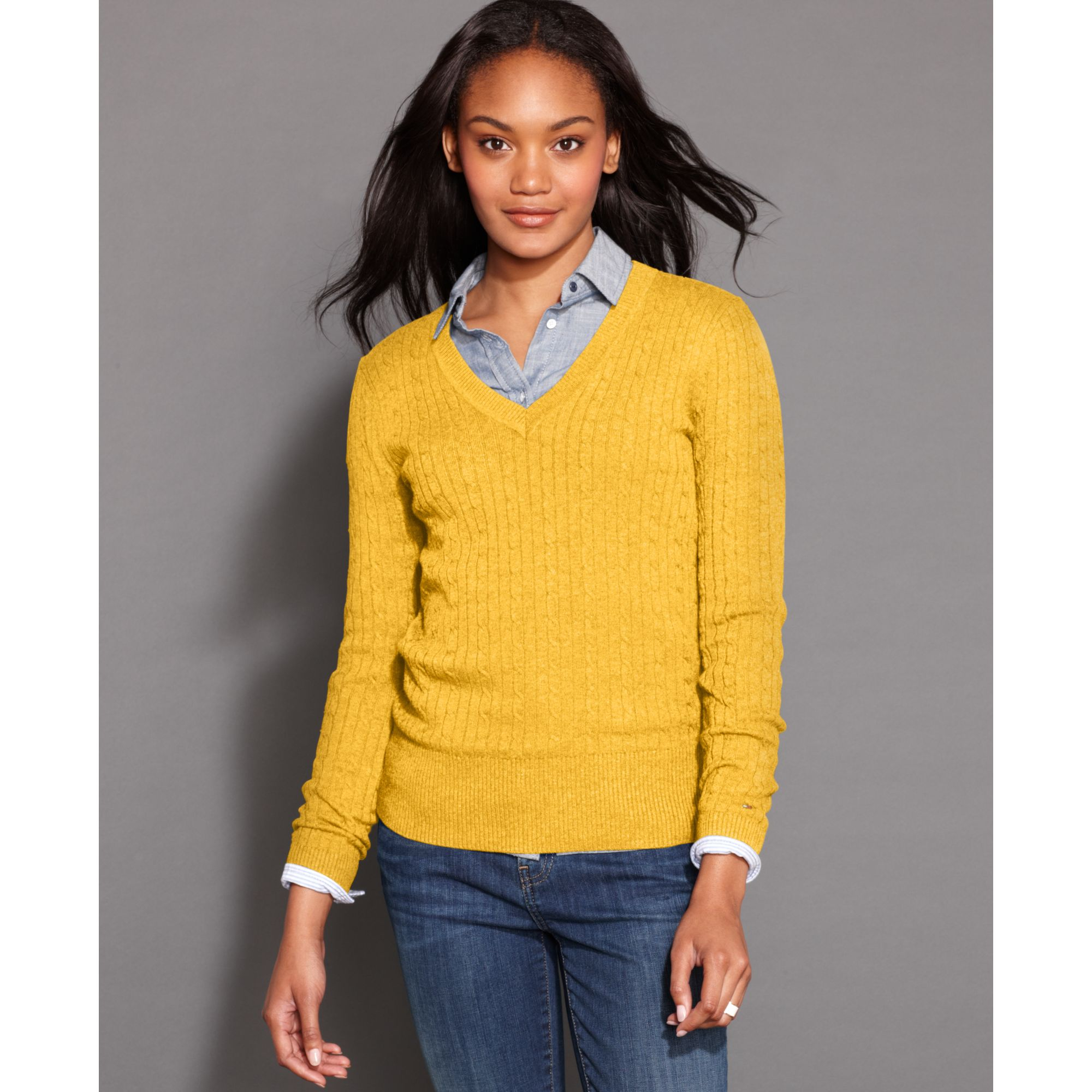 Tommy hilfiger Longsleeve Vneck Cableknit Sweater in Yellow | Lyst