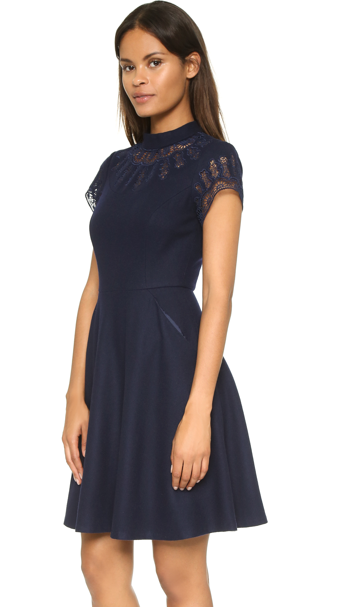 Lyst susana monaco sia embroidered wool dress in blue