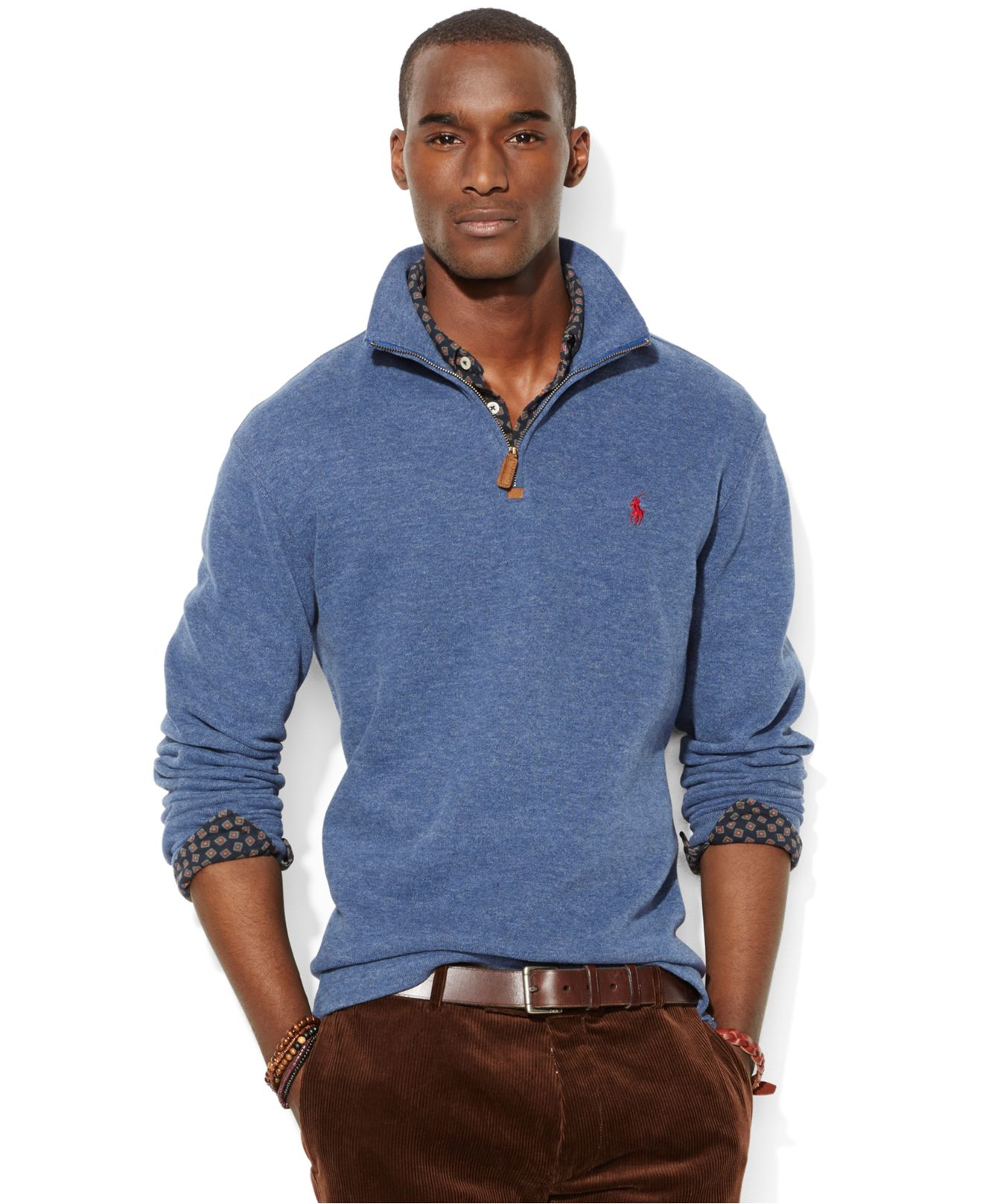 386e247bd ... large pioneer red greatskygifts cbdc4 c33a5  coupon code polo ralph  lauren mens half zip french rib cotton sweater 6b39b e7704