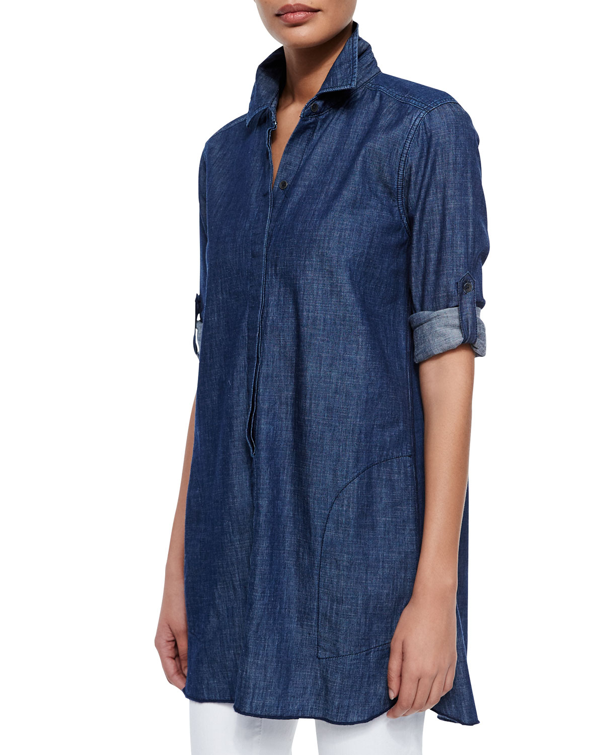 Christopher blue maria chambray tunic shirt isabel slim for Blue chambray shirt women s