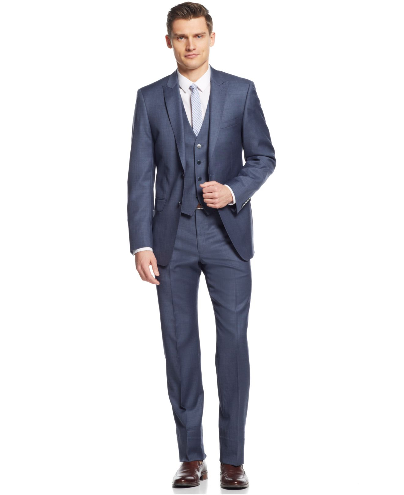 Calvin klein X Blue & Grey Sharkskin Vested Extra-slim-fit Suit in ...